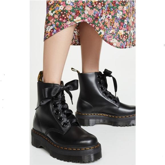 Dr Martens Black Leather Molly Platform